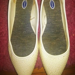 """Dr Scholl""""s white flats"""